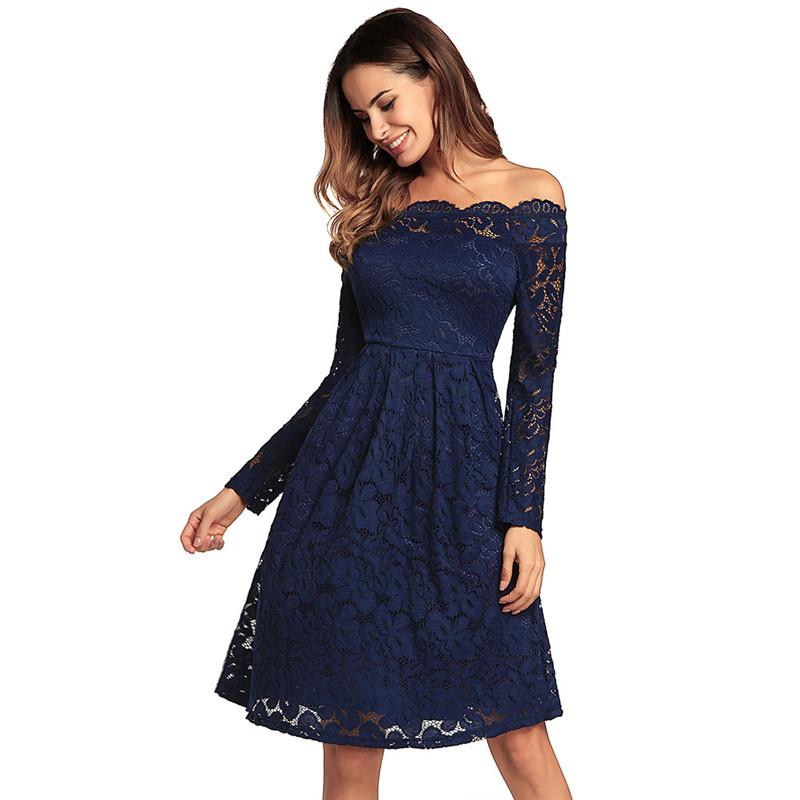 Women Off The Shoulder Flower Lace A-line Dress