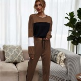 Women Color Matching Long Sleeves Pullover Top and Pant Home Casual Lounge Sets