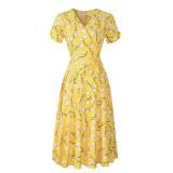 Women Chiffon Floral Short Sleeve High Waist Wrap Dress