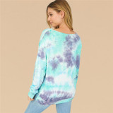 Women Tie-Dye Round Neck Long Sleeves Sweatshirt Tops