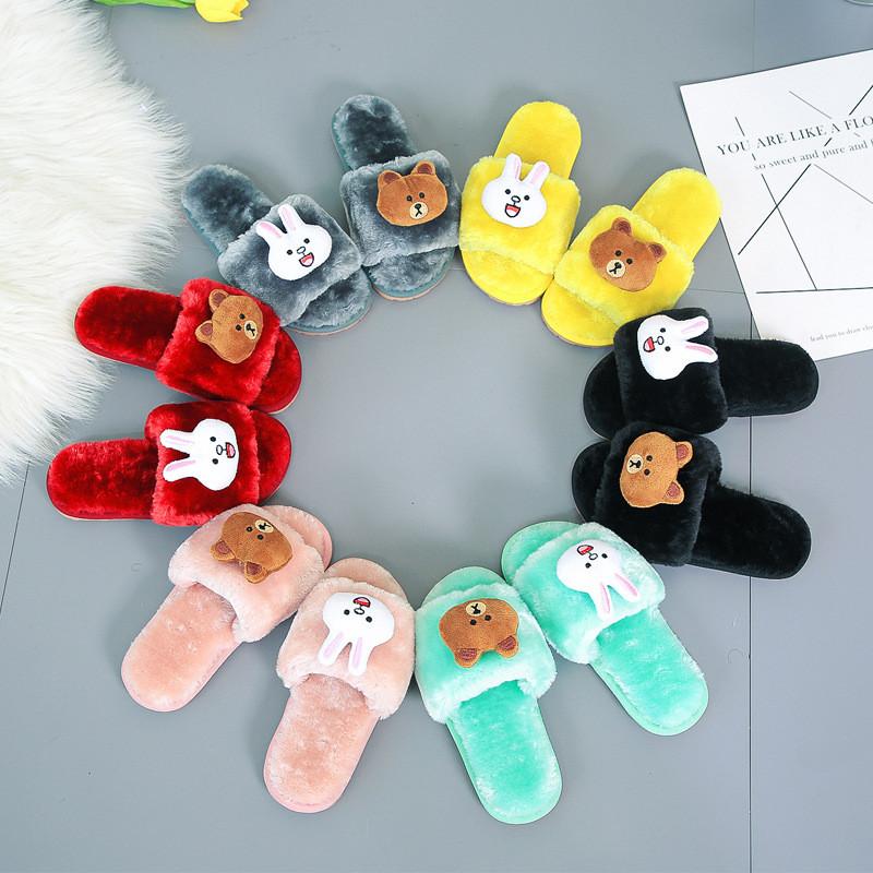 Toddlers Kids Soft Plush Fleece Bear Rabbit Warm Winter Home House Slippers