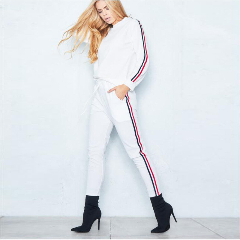 Women 3 Color Stripes Long Sleeves Round Neck Pullover Top and Sports Pants Two-piece Sets
