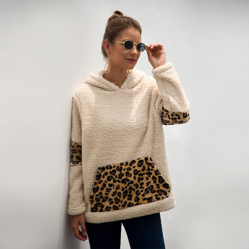Women Plush Macthing Leopard Prints Hooded Pullover Pocket Sweatshirt Tops