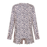 Women Brown Leopard Print Long Sleeves Tops and Shorts Home Casual Lounge Sets