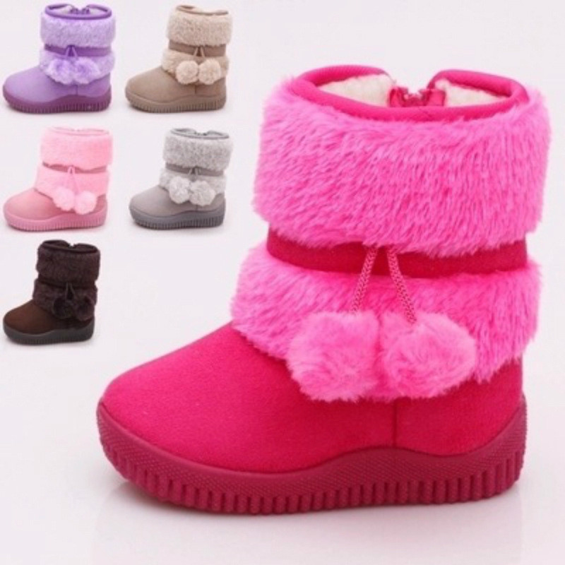 Toddle Kid Girl Suede Waterproof Winter Warm Pompom Snow Boots