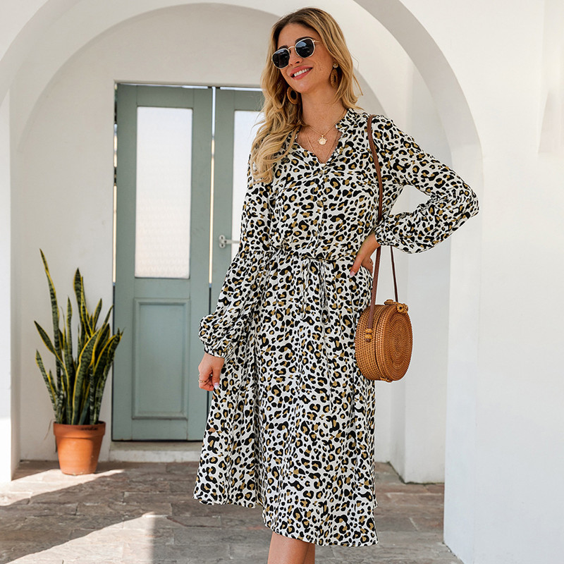 Women Leopard High Waist V-neck Long Sleeve Maxi Dress