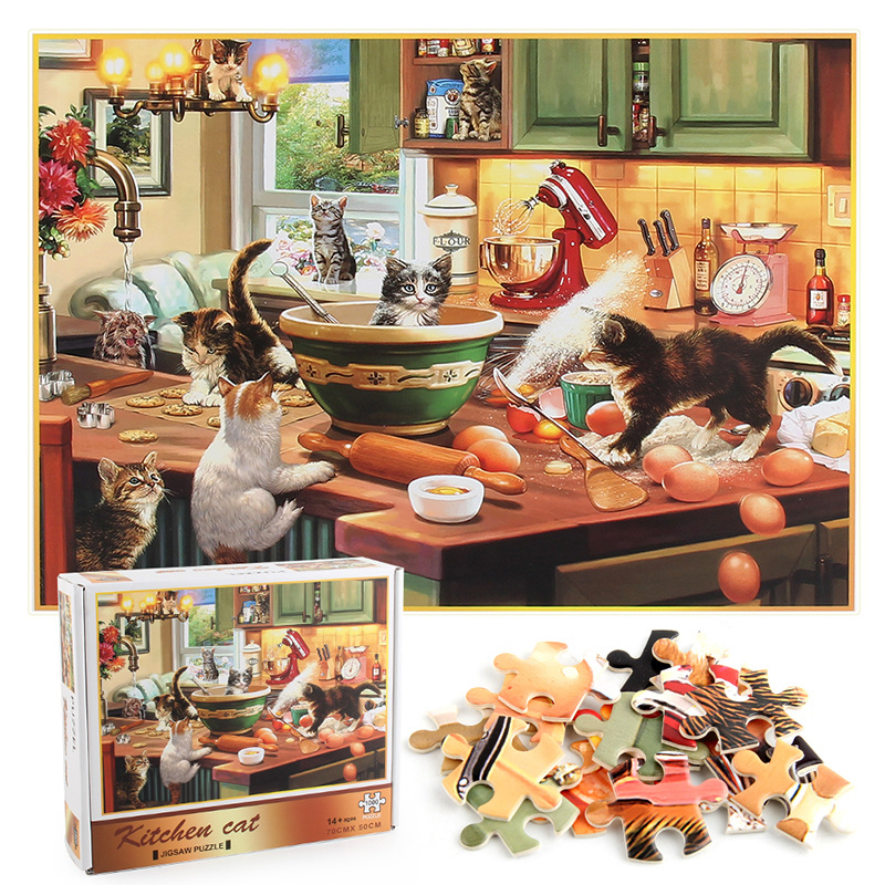 Pet Dogs Develop Creativity Play 1000 Pieces Cardboard Puzzles For Adults Kids