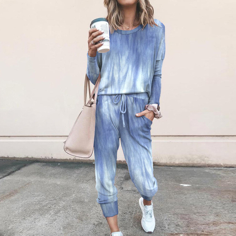 Women Tie Dye Blue Round Neck Long Sleeves Casual Lounge Sets