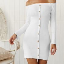 Women Off The Shoulder Knitting Long Sleeve Bodycon Mini Dress