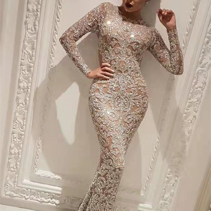 Women Sequins Bodycon Long Sleeve Evening Gown Maxi Dress