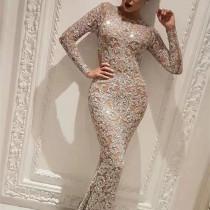 Women Sequins Bodycon Long Sleeve Evening Gown Maxi Dress