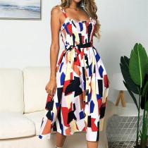 Women Color Matching Ruffles Slip Midi Summer Dress