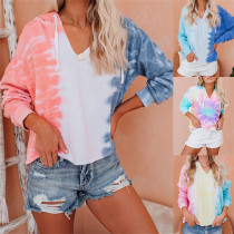 Women Tie Dye Ombre Color Matching Long Sleeve Hooded Pullover Sweatshirt Tops
