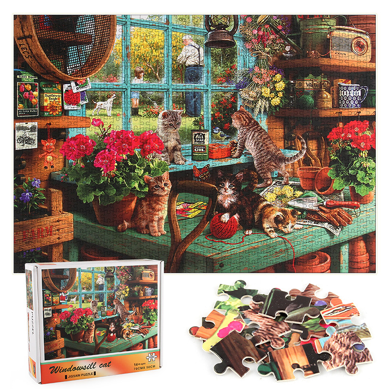 Cats Develop Creativity Play 1000 Pieces Cardboard Puzzles For Adults Kids