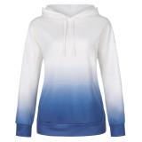 Women Tie-Dye Ombre Hooded Long Sleeves Casual Pullover Sweatshirt Tops