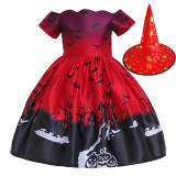 Toddler Kid Girl Cosplay Halloween Witch A-line Dress With Hat