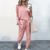 Women Round Neck Pullover Long Sleeves Top and Sport Pant Casual Two-piece Sets
