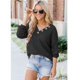 Women V-neck Bottons Long Sleeves Loose Sweatshirt Tops