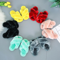 Toddlers Kids Soft Plush Fleece Cross Pure Color Warm Winter Home House Open Toe Slippers