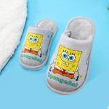 Toddlers Kids Spongebob Flannel Warm Winter Home House Family Slippers For Kids and Parents