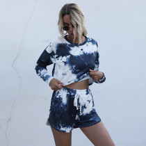 Women Tie-Dye Long Sleeves Crew neck Top and Sports Sports Lounge Two-piece Sets