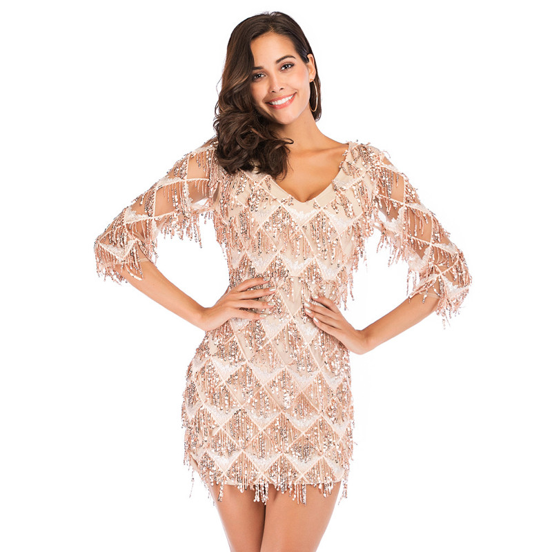 Women Rose Gold Tassels Fringed Sequins V-neck Bodycon Mini Dress