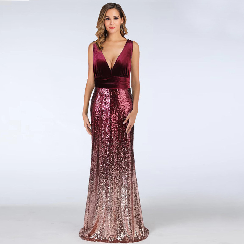Women Velvet Ombre Sequins Matching V-neck Mermaid Maxi Party Dress