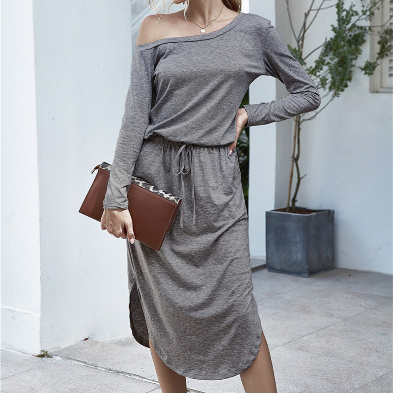 Women One Shoulder Long Sleeve Casual Dress
