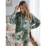 Women Tie-Dye Hooded Pullover Long Sleeves Tops and Shorts Home Casual Sets