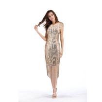 Women Tassels Fringed Sequins V Backless Party Dress