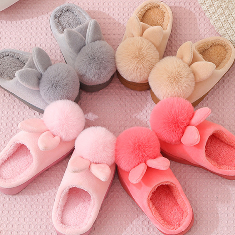 Toddlers Kids Rabbit Ears Warm Winter Home House Slippers