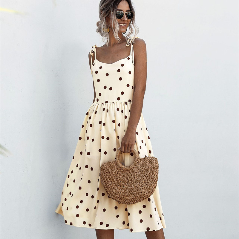 Women Polka Dots Tie-Up Slip A-line Dress