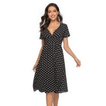 Women Polka Dots V-neck Short Sleeves Dress