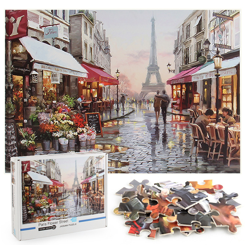 Pairs The Eiffel Tower Flower Street Develop Creativity Play 1000 Pieces Cardboard Puzzles For Adults Kids