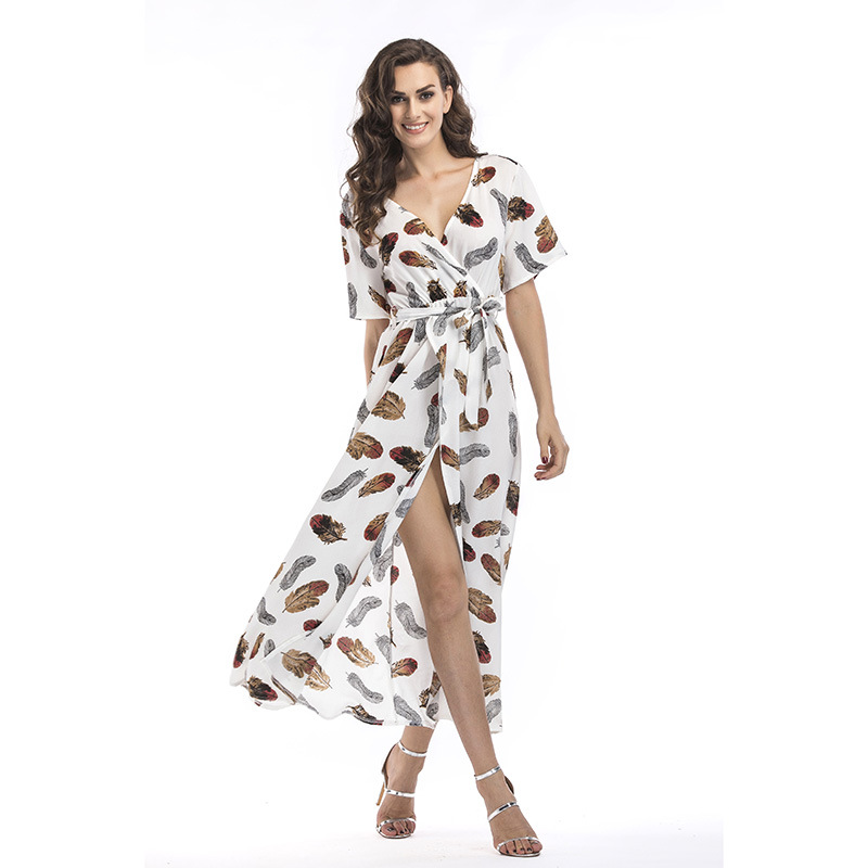 Women Print Feathers V-neck Wrap Maxi Dress