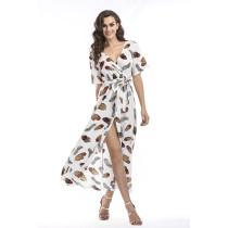 Women Print Feathers V-neck Wrap Maxi Dress