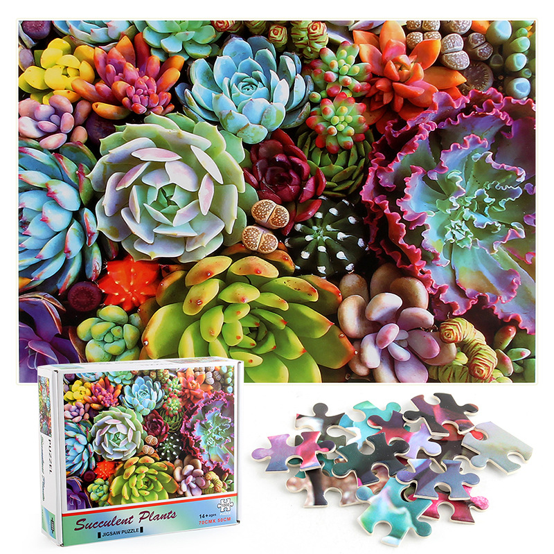 Succulent Plants Develop Creativity Play 1000 Pieces Cardboard Puzzles For Adults Kids