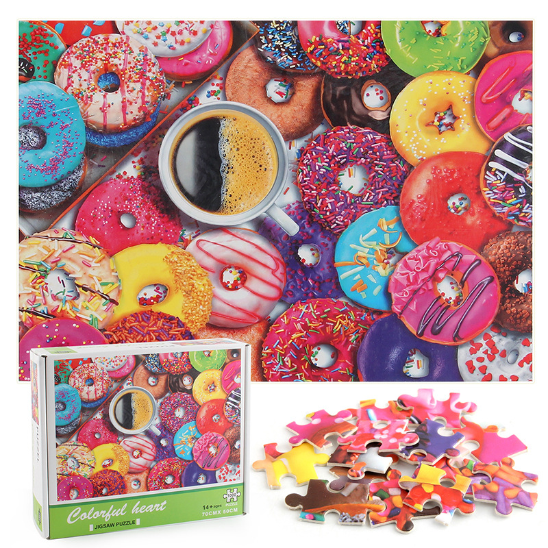 Doughnut Sweets Develop Creativity Play 1000 Pieces Cardboard Puzzles For Adults Kids