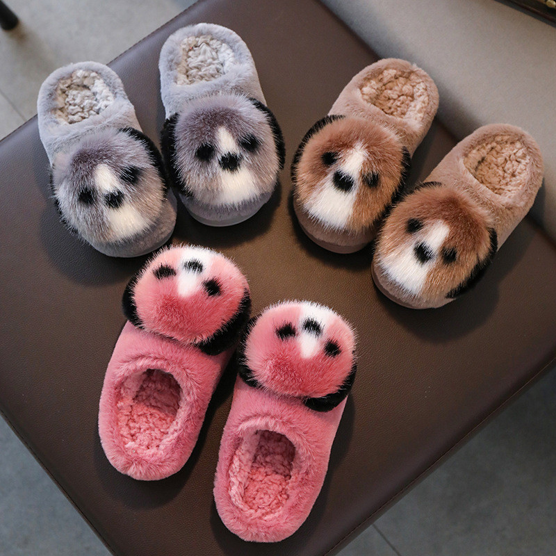 Toddlers Kids Cute Dog Warm Winter Home House Slippers