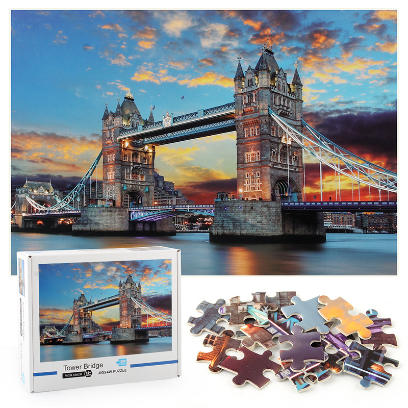 London Tower Bridge Develop Creativity Play 1000 Pieces Cardboard Puzzles For Adults Kids