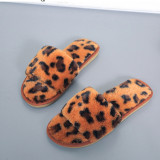 Toddlers Kids Leopard Print Flannel Warm Winter Home House Open Toe Slippers