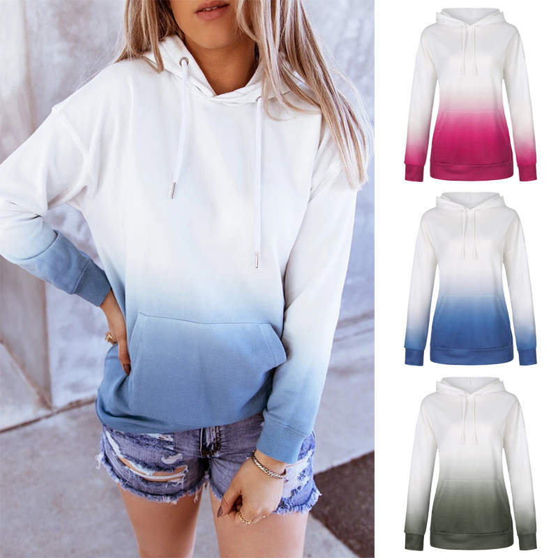 Women Tie-Dye Ombre Hooded Long Sleeves Casual Pullover Sweatshirt Tops