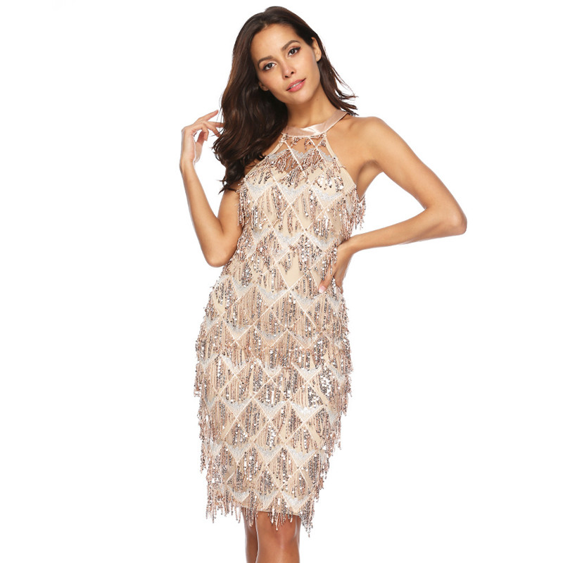 Women Rose Gold Tassels Fringed Sequins Halter Party Dress