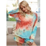 Women Tie-Dye Long Sleeves Pullover Tops and Shorts Home Casual Lounge Sets