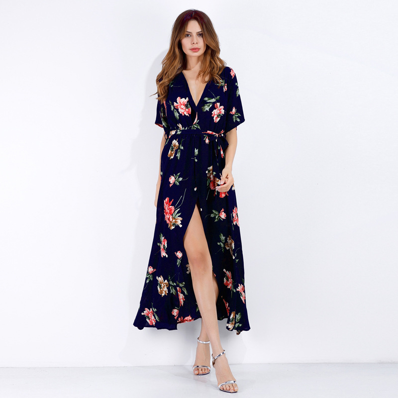 Women Floral Print V-neck Wrap Dress