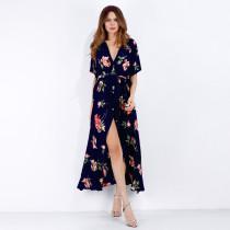 Women Floral Print V-neck Wrap Dress