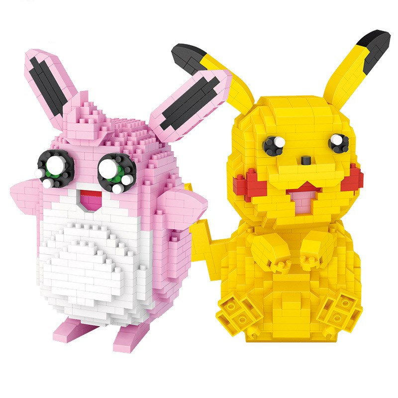 Ceative Play Building Blocks Cartoon Pikachu Pokemon Puzzles Toys Kids 6+ Boys Girls Gifts