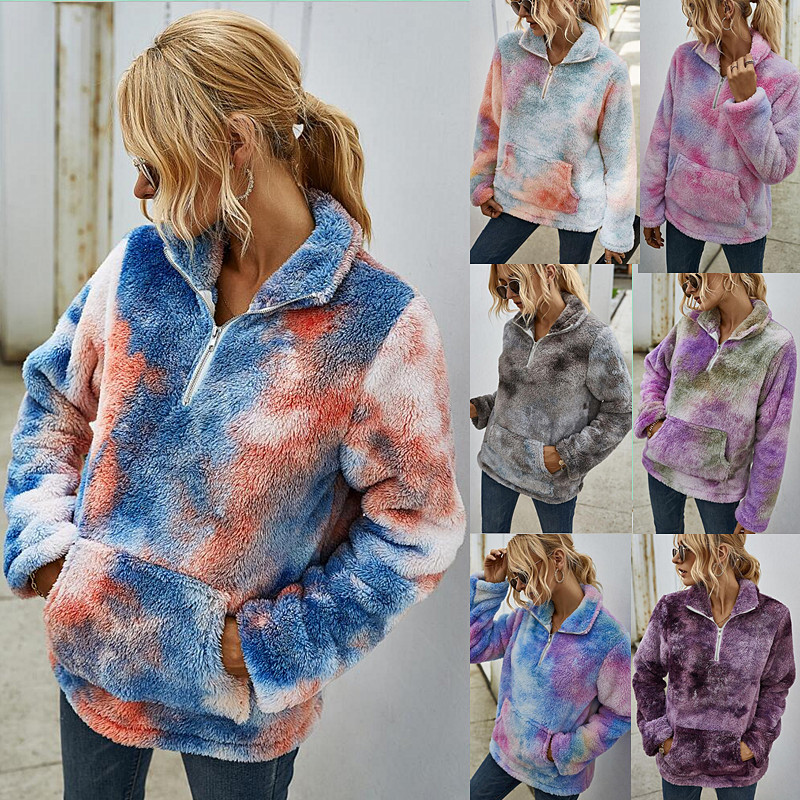 Women Plush Tie-Dye Ombre Pullover Pocket Sweatshirt Tops