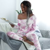 Women Off The Shoulder Tie-Dye Long Sleeves Pocketed Casual Home Jumpsuit