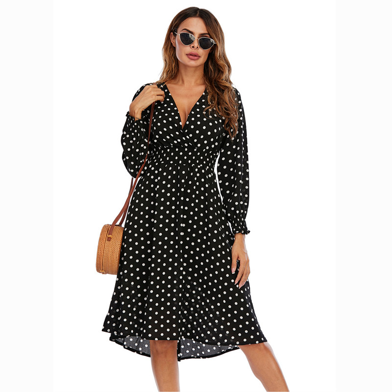 Women White Dots V-neck High Waist Longe Sleeves A-line Dress